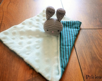 Flat blanket, crochet grey and Blue Bunny