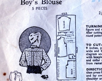 Rare 1930s Vintage Sewing Pattern. Boy's Blouse / Shirt. Maudella Pattern 453. Child Age 4 to 6 Yrs