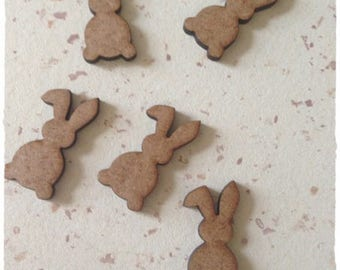 Set of 25 small mini rabbits blank height 3 cm thickness 3mm
