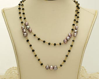 Mauve and Black Pearl Necklace 60.75ct (B83N)