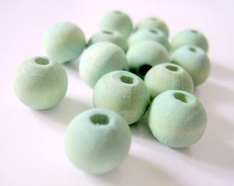 Mint Green Hand Dyed Wood Beads, Jewelry Supplies, General Crafts
