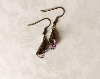 Violet Crystal Earrings, Violet Jewelry, Violet Earrings, Crystal Jewelry, Crystal Earrings Boho, Purple Earrings, Gift under 20