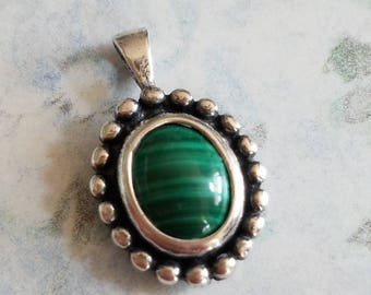 Vintage Sterling Silver and Malachite Oval Pendant