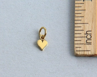 Heart Charm, Gold plated sterling silver Heart Charm, Gold Heart Charm, Tiny Heart Charm, Small Heart Charm, 7mm ( 1 piece )