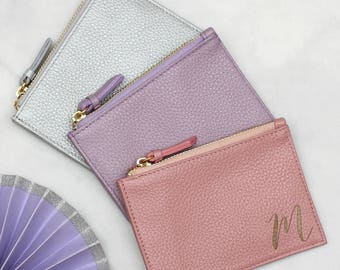Personalised Initial Pastel Leather Purse With Keyring (HBL17)