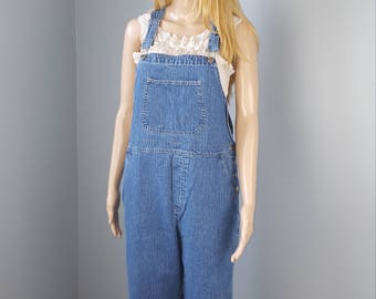 80's  Womens Overalls, Mountain Lake Denim overalls, Raw Hem Jean Overalls//Women's size  Small S