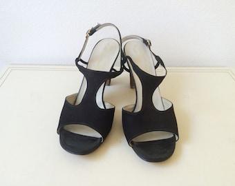 t-strap heels / black leather sandals / Arlina heels