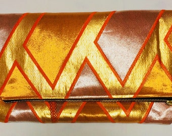 Gold, Orange and Silver Vintage Obi Silk Fold-over Clutch Purse