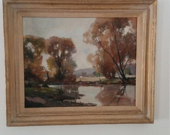 Landscape original oil painting of trees and lake vintage