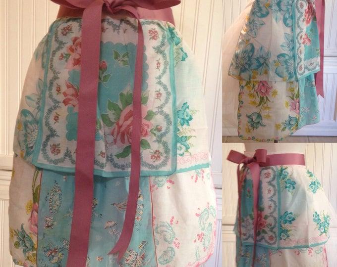 Vintage half apron handkerchief shabby chic aqua tea apron rose grosgrain ribbon long ties crochet trimmed hanky hidden aqua pocket