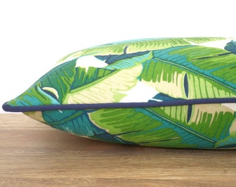 Green palm leaf pillow case 24x14 front porch decor, tropical lumbar pillow cover indoor outdoor fabric, banana leaf outdoor cushion piping