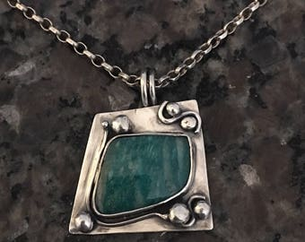 Sterling Silver Necklace, Amazonite, Artisan Jewelry, Jewelry Art, Handmade, Metalsmith, Necklace, Silversmith, hand-forged, OOAK, BOHO