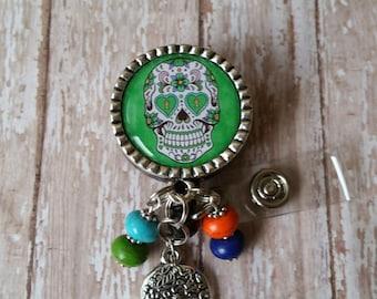 Badge reel jewelry etsy sugar skullday of the dead retractable badge holder reel see pictures solutioingenieria Gallery