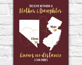 Mothers Day Gift, Long Distance Mom and Child, Moving Out of State, Personalized Maps, Gift for Mommy, Daughter, Quotes about Family | WF173