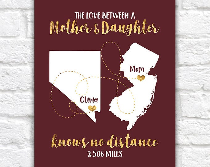 Featured listing image: Mothers Day Gift, Long Distance Mom and Child, Moving Out of State, Personalized Maps, Gift for Mommy, Daughter, Quotes about Family | WF173