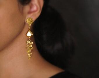 Antique Gold Leaf Earrings, Gold Filigree Earrings, Floral Earrings, Gold Dangle Earrings, Gold Statement Earrings, Gold Boho Earrings
