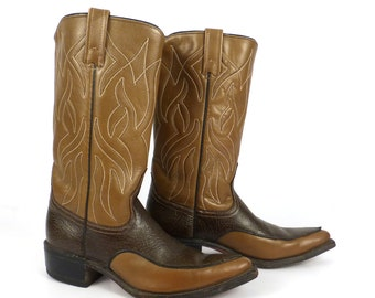 Acme Cowboy Boots Vintage 1960s  Two tone Brown Leather Women's size 6 1/2 B