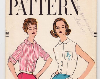 "Vintage Sewing Pattern Ladies' Blouses 1950's Vogue 9505 32"" Bust - Free Pattern Grading E-book Included"