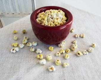 1:4 Scale Miniature POPCORN in Ceramic Bowl with Loose Pieces - Realistic Polymer Clay Food for Larger Fashion Dolls, BJD's, and Figures