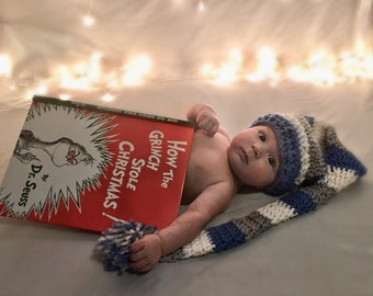 Newborn elf hat with Pom Pom - baby hat - Photo prop hat - gray white and blue