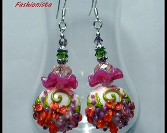 Pink Mauve Orange and Lime Green Earrings,Floral Earrings,Lampwork Earrings,Dangle Earrings,Flower Earrings,Colorful Earrings - FASHIONISTA