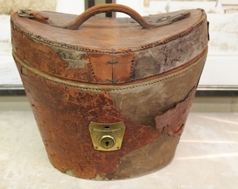 19th C Antique English Leather Hat Box