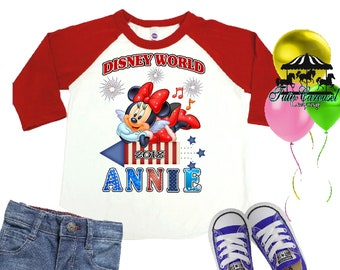 Minnie Mouse Shirt, 4th Of July Shirt, Personalized Raglan Shirt, Toddler Youth Adult  (mc568)
