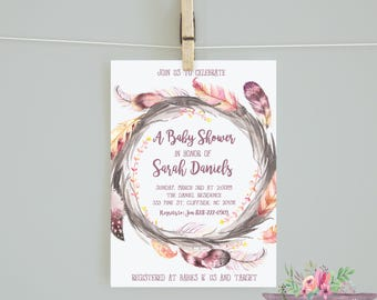 Girl Baby Shower/ Girl Baby Shower Invitation/Watercolor Feather Baby Shower/ Feather Baby Shower/ Girl Baby Shower