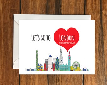 Let's Go To London For Our Anniversary Blank greeting card, Holiday Card, Gift Idea A6