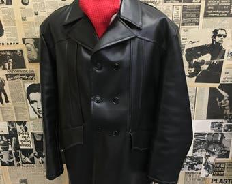 Original Vintage 1960s Mens Fems Deluxe Faux Leather Coat Black Size Large Cheap UK Postage & Worldwide