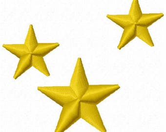 3 Stars Machine Embroidery Design - Instant Download