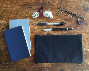 Two Set,  Waxed Canvas Pouch, Waxed Canvas, Zipper Pouch, Pencil Case, Travel Pouch, Minimalist Style, Pen Pouch, canvas pouch