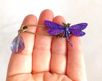 dragonfly shawl pin brooch, dark purple dragonly brooch, kilt pin, bouquet pin, one brooch