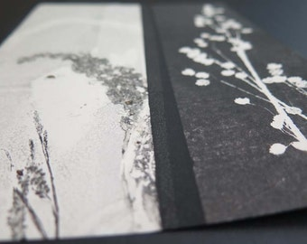 Small original botanical monoprint by Stef Mitchell Wild orchid meadow grasses Influenced by vintage Japanese art. Black ink on cream paper