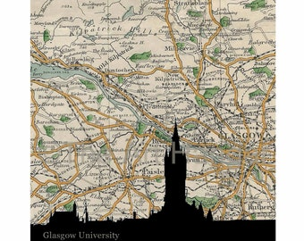 Glasgow University, Old Map, Map Silhouette, Vintage, Giclée, Print, Best Seller, Map Print, Square, Gift, Gift for Him, Glasgow Gift