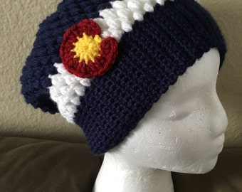 Crochet Puff Stitch Colorado Slouch Beanie- Baby, Child, Teen, Adult sizes, Colorado hat, Colorado flag hat, Colorado Hat, Ski, Skiing, Snow