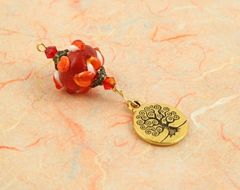 Blessingway bead - Love Petals Golden Tree of Life - Mother Blessing bead, mama goddess