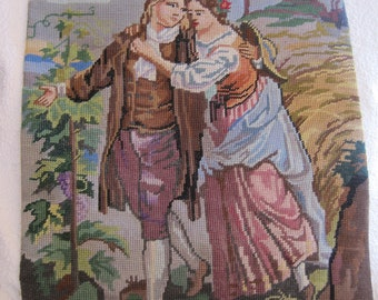 Vintage Needlepoint French Courting Couple Figural European Oversized Complete