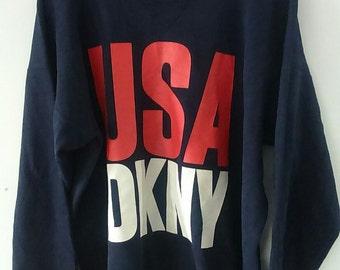 Rare Vintage DKNY Sweatshirt Big Logo One Size