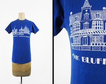 Vintage Martha's Vineyard T-shirt 80s Oak Bluffs Blue Tee Made in USA - Small / XS