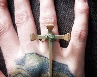 Handmade Coffin Nail Crucifix Ring