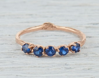 Sapphire Wedding Ring. Eternity Ring. Sapphire Wedding Band. Sapphire Engagement. Five Stone Garland Ring Yellow Gold, White Gold, Rose Gold