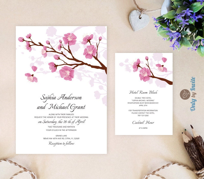 Printed wedding invitation and info card bundle pink cherry zoom filmwisefo Gallery
