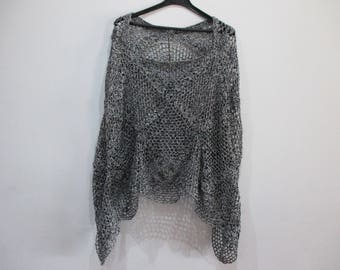 Poncho, shawl, crochet, Heather black and silver color.