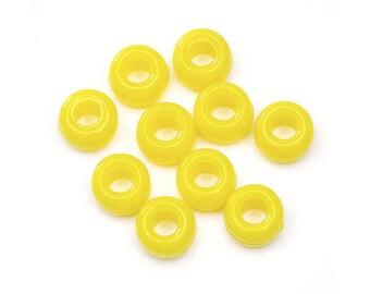CLEARANCE Opaque Lemon Pony Beads, 6x9mm, 480 beads