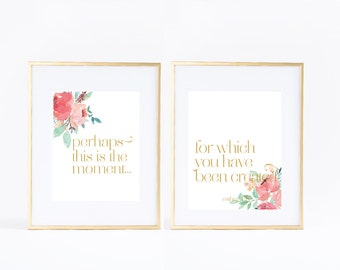 Girl Women Lady Christian Bible Verse | Coordinating Wall Art Print | Room Nursery | Perhaps this is the moment | Esther 4:14