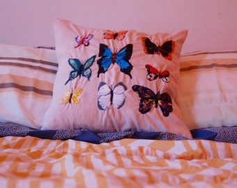 Butterfly Embroidered Pillowcase. Butterfly Embroidery