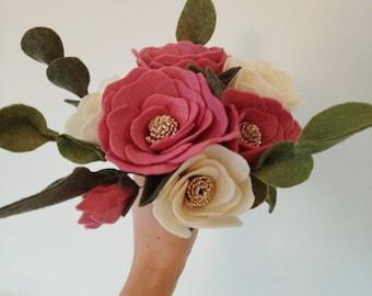 Tsubaki bouquet (Camellia bouquet)- Felt Flower Bouquet - Wedding Bouquet - Bridal Bouquet - Spring Flowers - Spring Home Decor