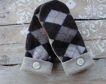 Brown and Gray Argyle Wool Sweater Mittens with Buttons