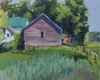 Plein Air Oil, Landscape Painting, Minnesota Farm